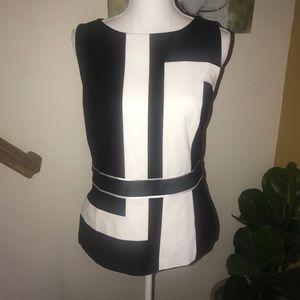 WHBM black white peplum career blouse size 12